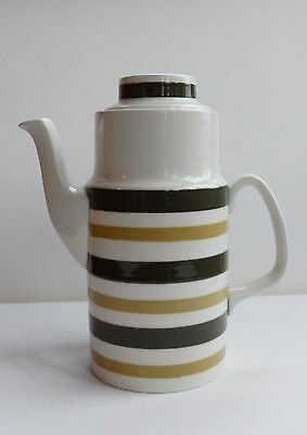A vintage 60's Cornish Ware style Evergreen Coffee Pot. Staffordshire Potteries.