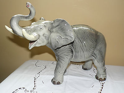 Stunning Rare Huge Porcelain African Elephant By Melba Ware