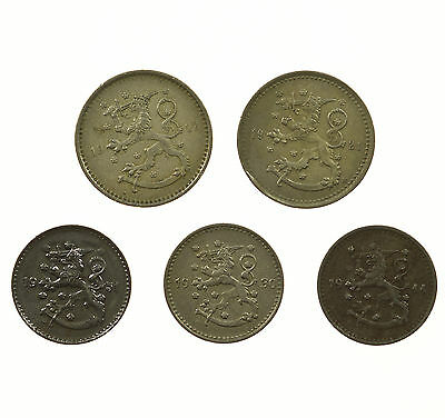 Finland, Collection Of 5 Coins, Suomi, 1921-1955