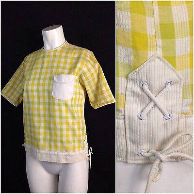 Vintage 50s Yellow Green Cotton Checked Short Sleeve Tie Blouse Top Rockabilly S