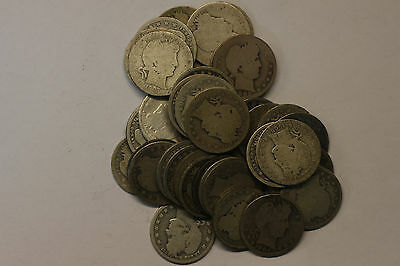 Roll of 40 Barber Silver Quarters, Circulated, Various Years/MM