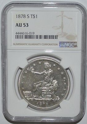 1878-S Trade Dollar - Ngc - Au 53 - Silver - New Style Ngc Holder