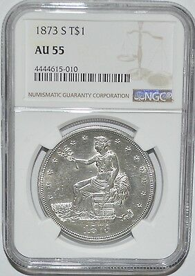 1873-S Trade Dollar - Ngc - Au 55 - Silver - New Style Ngc Holder