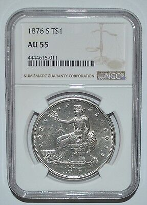 1876-S Trade Dollar - Ngc - Au 55 - Silver - New Style Ngc Holder