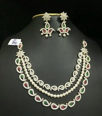 Indian Fashion Jewellery White Latest gold plated necklace set with Earring