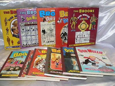 Collection / job lot  of 11 The Broons and Oor Wullie Annuals  inc 5 Hardbacks