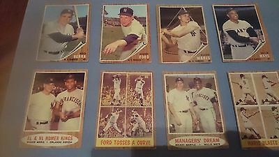 Baseball Cards Topps 1962- 9 Cards Including Roger Maris And Willie Mays