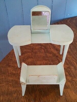 VTG. Blue Vanity With Mirror and Chair Vogue Jill ~Jan doll furniture 1950's