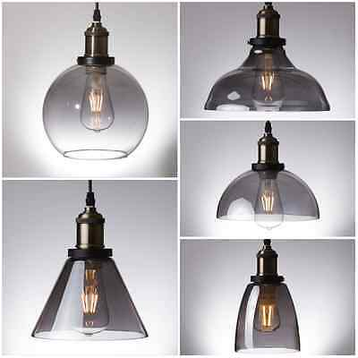 Smoke Glass Pendant Light Antique Vintage Industrial Loft Ceiling Chandelier UK