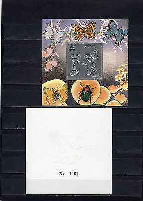 Abkhazia 1994 butterflies presentation the blocks on gold and silver foil