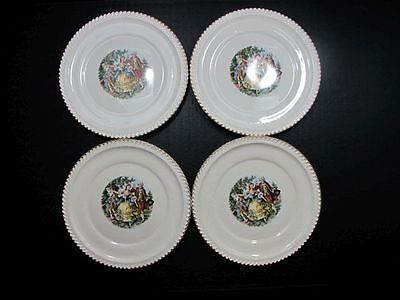 """Lot FOUR VINTAGE PLATES THE HARKER POTTERY CO 22 KT GOLD TRIM COLONIAL USA 10"""""""