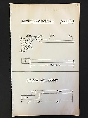 Harland & Wolff -1930's Eng, Drawing WHEEZES FOR PLATERS USE / HOLDER-UP'S HOBBY