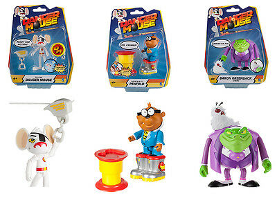 Set of 3 Danger Mouse Action Figures - D Mouse, Baron Greenback Nero & Penfold