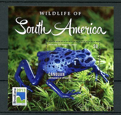 Canouan Gren St Vincent 2013 MNH Wildlife of South America Frogs 1v S/S Stamps