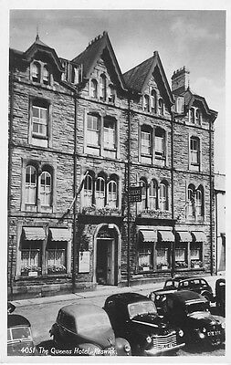 Real Photographic postcard. QUEENS HOTEL, KESWICK, Cumberland with vintage cars