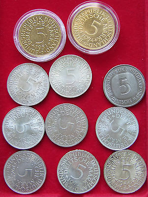 COLLECTION LOT GERMANY SILVER 5 MARK 11 pc 129g  #xxj 008