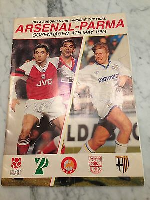 Arsenal v Parma 1994 cup winners final programme Signed By Arsenal Team