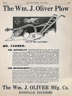 Old 1911 William J. Oliver Walking Plow At Advertisement Knoxville Tn Tennessee