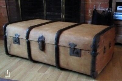 Vintage Steamer Trunk, Quirky Coffee Table, Antique Trunk