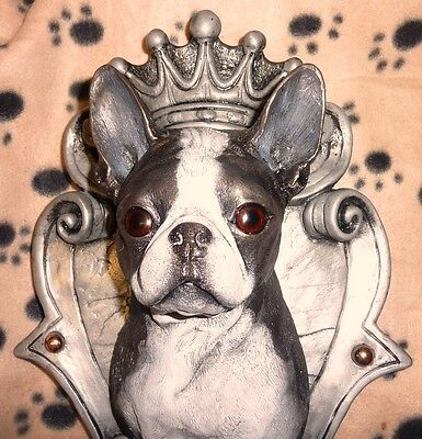 "BOSTON TERRIER 1ft.3""  Royal crest Dog Figurine Head Bust K9 Art Wall-Sculpture"