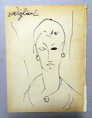 Amedeo Modigliani drawing after portrait Signed Sketch Art