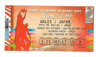 2007 - Wales v Japan, World Cup Match Ticket.