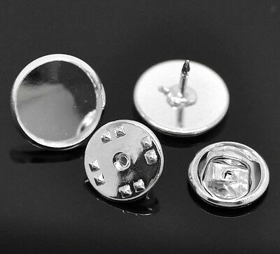 * Packs Of Silver Tone Metal Alloy Tie Pin / Badge Findings (For 18Mm Cabochons)