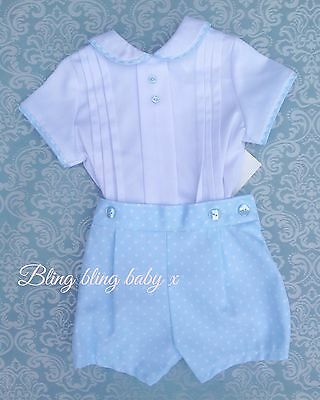 Boys Spanish Traditional Romper Shirt Shorts Outfit Set Romany 12-18 Months
