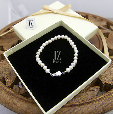 Freshwater Cultured Pearl 7 inch  Bracelet with Sterling Silver Heart Clasp