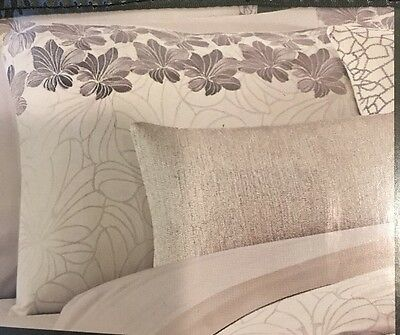 Catherine Malandrino Petal Embroidered Two (2) KING SHAMS Ivory Silver NEW!