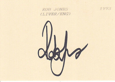 Liverpool and England ROB JONES Signed Index Card