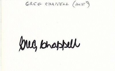 Australia Cricket GREG CHAPPELL Signed Index Card