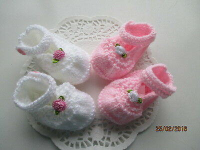 Hand knitted Baby booties in pink and white first size 2prs as shown