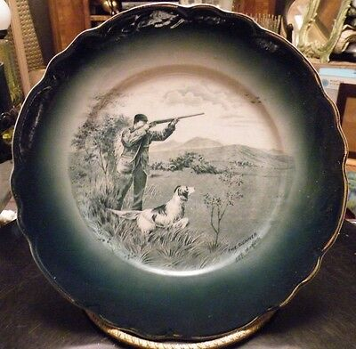 Antique Buffalo Pottery Plate Dark Blue Green with Gold Trim - The Gunner