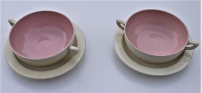 2 x CLARICE CLIFF SOUP BOWL & SAUCER