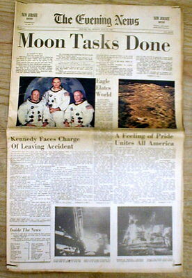 1969 newspaper 1st MAN LANDS on the MOON + TEDDY KENNEDY scandal CHAPPAQUIDDICK