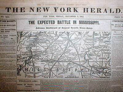 1862 Civil War newspaper w detailed front page MAP of TENNESSEE & MISSISSIPPI
