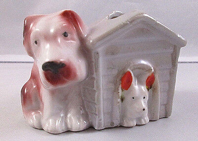 Vintage Ceramic Two Dogs And Doghouse Toothpick Holder - Japan