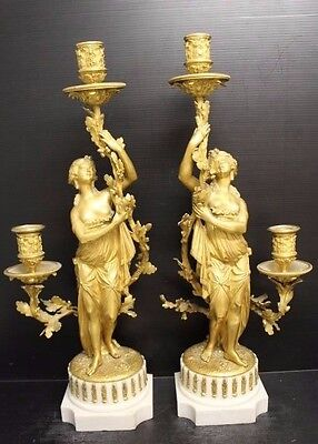 Pair of Beautiful Antique Gilt Bronze Maiden Figure Candelabras  w/ Marble Base