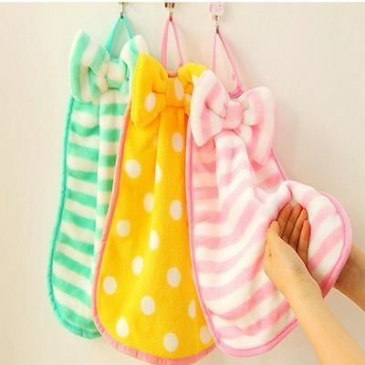 Home Poly Kitchen Fleece Bow Knot Utility Hanging Hand Dry Velvet Towel