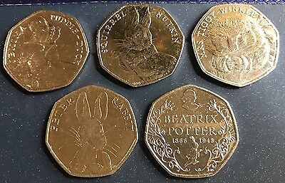 Full Set Of 5 x 2016 Beatrix Potter 50p Coins Nutkin,Tiggy,Jemima,Peter 150th