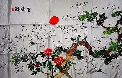 Handwoven Silk Chinese Embroidery - 100 Cranes (120 cm x 73 cm) #1
