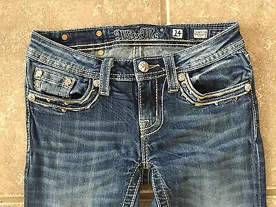 Miss Me Buckle Stretch Stone Boot Jeans Girls Size 14