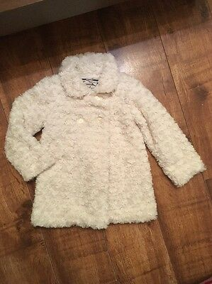 Girls Faux Fur Coat Aged 2-3 Years Mint Condition