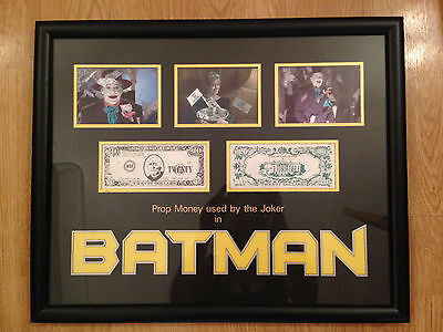 Batman Movie Prop Money Display -  Framed - Excellent Conditon - COA