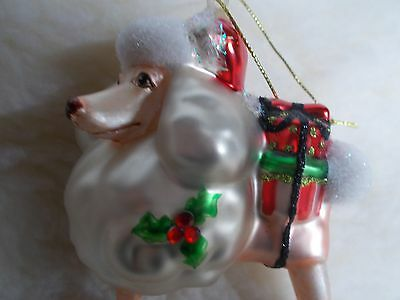 Beautiful Delicate Glass White Poodle Ornament