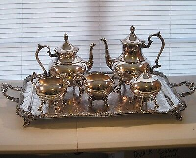 GORGEOUS Silverplate Tea Coffee Set - 6pc. - Baroque Scroll Leaf Shell