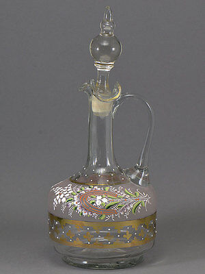 Enamel & Gilt Horseshoe Lily Of The Valley Decanter French Art Glass