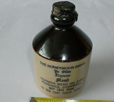 VINTAGE MINIATURE THE HONEYMOON DRINK LIQUEUR CORNISH MEAD Co. STONE WARE FLASK