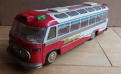 Vintage tin battery operated Shanghai Touring bus toy ME086, made in China- RARE